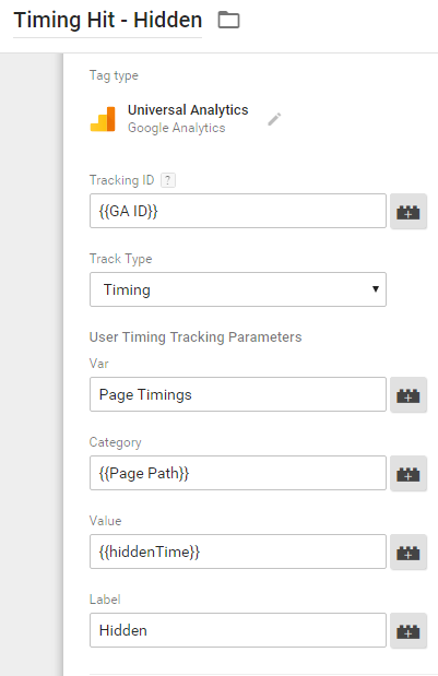 User Timing Tag - Hidden Time On Page