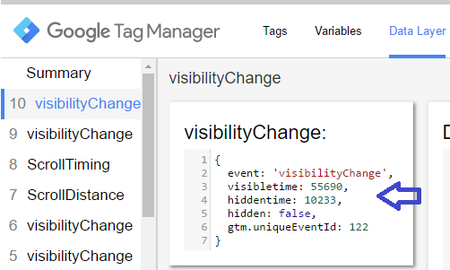 Track time on page - Visibility Changed event