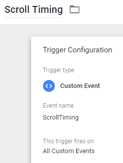 Scroll Timing - GTM - Trigger = Digishuffle