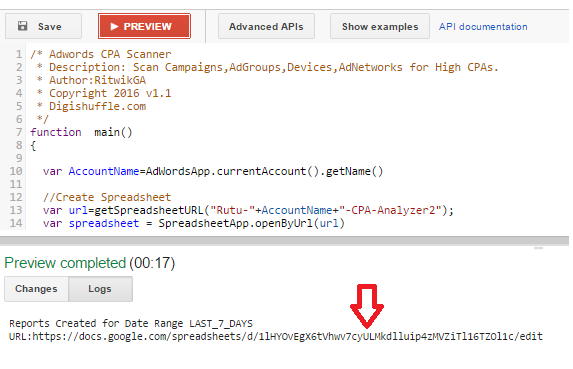 Adwords-Script-Spreadsheet-URL