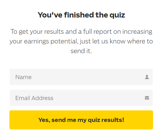 Email form after Quiz