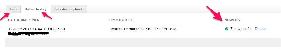Successful Upload - Dynamic Remarketing - digishuffle