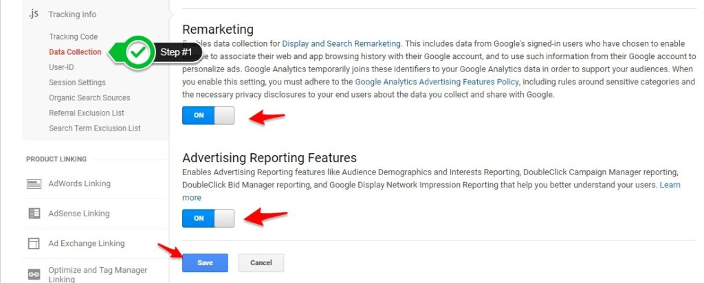 Enable Remarketing & Advertising Features - Adwords Dynamic Remarketing